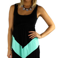 Sleeveless Chevron Short Dress - Black/Mint