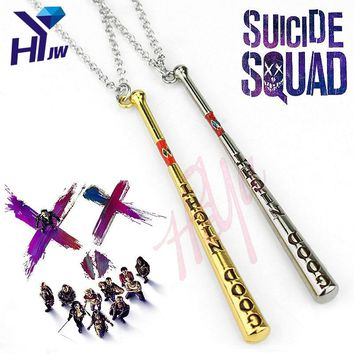 Hot Movies Suicide Squad Harley Quinn Necklace Baseball Bat Pendant Necklace 62cm Long Vintage Chocker Accessories Jewelry