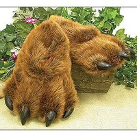 Grizzly Bear Paw Furry Slippers Keep Feet Warm in Winter -Adult sz Large