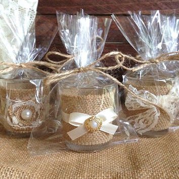 10 candle favors - burlap and ivory lace covered wedding, bridal shower votive tea candle favors