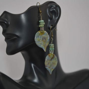 Leaf Earrings, Lampwork Bead Earrings, Nature Earrings, Boho Chic Earrings, Lampwork Leaf Earrings, Green Earrings