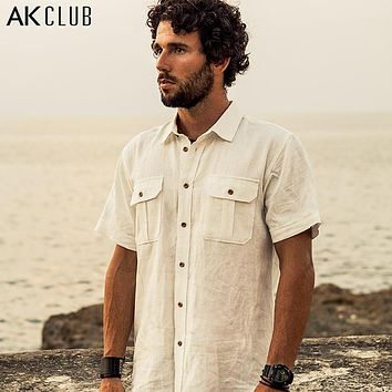 New 100% Linen Shirt Military Style Front Pocket Shirts For Men Casual Short Sleeve Shirt Solid