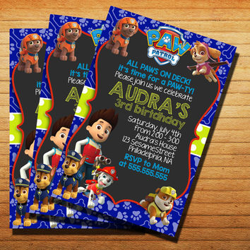 Design New Paw Patrol Party Invitation Cards 4x6, 5x7, Customized