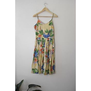 Vintage Cream Hawaiian Floral Sun Dress