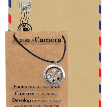 Josefina Locket Necklace with Camera, Sunglasses Charms, Gifts for Photographers, Gifts for Selfie Lovers With Greeting Card