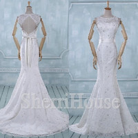 Sheer lace Apllique Straps Strapless Backless Mermaid Long Wedding Celebrity dress ,Court train Evening Party Prom Dress Homecoming Dress