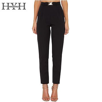 HYH HAOYIHUI Apparel Women Casual Pants Solid Black Female Basic Trousers Metal Button Sash Streetwear Elegant Brief Pants
