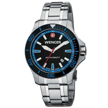 Wenger 0641.106 Men's Sea Force Swiss Made Blue Accents Black Dial Stainless Steel Watch