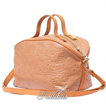 Tan Genuine Italian Leather MakeUp Bag with Long Strap