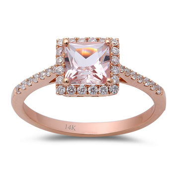 1.05tcw Princess Morganite & Diamonds in 14K Rose Gold Halo Engagement Ring