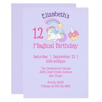 Magical Birthday Unicorn and Cupcake Party Card