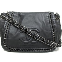 CHANEL Chain Shoulder Bag Lambskin Leather Black