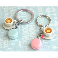 french macaron and tea key chain