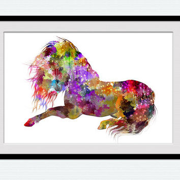 Horse watercolor print Animal multicolor poster Horse colorful decor Animal art print Home wall decor Kids room decoration Gift idea W690