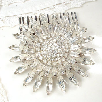 Bridal SASH Brooch OR HAiR CoMB, 1920s Vintage Large Round Pave Rhinestone Art Deco Pin or OOAK Marquise Crystal Wedding Headpiece Accessory
