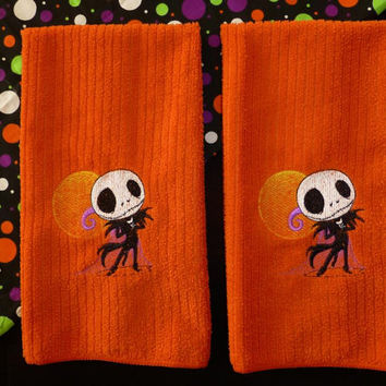 Jack Skellington Nightmare Before Christmas Towels Delicious Orange Towels fun for Halloween!