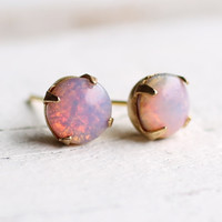 Pink Firestone Earrings ... vintage pink opal stud earrings in brass gold settings