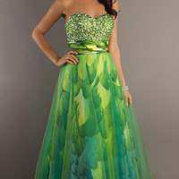 Prom Dresses, Celebrity Dresses, Sexy Evening Gowns at PromGirl: Strapless Sweetheart Green Print Ball Gown
