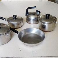 Miniature Revereware Set Pots Skillet Lids Tea Kettle Dutch Oven Copper Clad