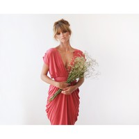 Coral Midi length bridesmaids dress 1007
