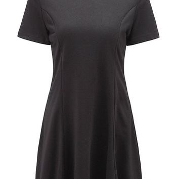 Women's Summer Doll Collar Slim Ruffle Frill Tunic Pleated Dress