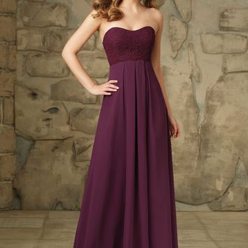 Morilee Bridesmaids 107 Strapless Chiffon and Lace Dress