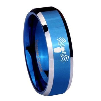 10mm Spider Beveled Edges Blue 2 Tone Tungsten Carbide Mens Ring