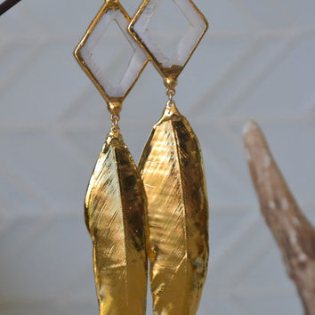 JULY 4th SALE Gold Feather Earrings /// Mother Of Pearl, Gold Dipped feathers  /// Boho Tribal Earrings
