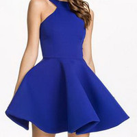 Blue Backless Sleeveless Dress