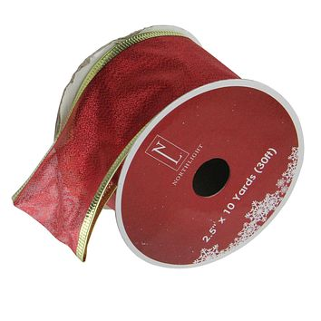 """Pack of 12 Textured Red and Gold Wired Christmas Craft Ribbon Spools - 2.5"""" x 120 Yards Total"""