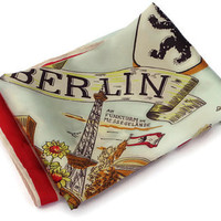 Vintage Berlin Souvenir Scarf . Germany . Light Blue and Red Square Scarf . Tourist Scarf . Travel Scarf .
