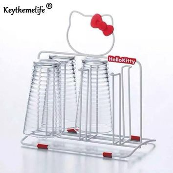 Hello kitty Stainless Steel Holder Cup Holder Knife Cutting Board Rack Pot Rack Lid Storage Racks Kitchen Supplies D1