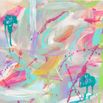 Smitten Pink Original Abstract Painting 11x14 Canvas Contemporary Art Pink White Turquoise Green Gold