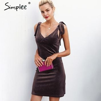 Simplee Strap tie up velvet dress women V neck casual short winter dress female Wine red mini dresses Christmas robe femme