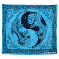 Blue Yin Yang Chinese Dragon Fly Hippie Tapestry Wall Hanging Bedspread Decor Art on RoyalFurnish.com