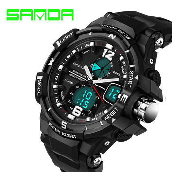 SANDA Fashion Watch Men Waterproof LED Sports Military Watch Shock Resistant Men's Analog Quartz Digital Watch relogio masculino