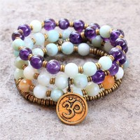 Confidence and Healing, Amazonite and Amethyst Convertible 54 Bead Wrap Bracelet Or Necklace