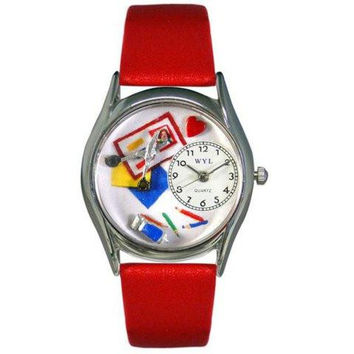 Whimsical Womens Scrapbook Red Leather Watch