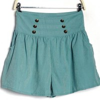 Double Breasted Wrinkled Short Green$40.00