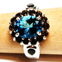 "London blue topaz, blue topaz ring, cocktail ring, blue, brown, birthstone ring, s 9 ""Shock Wave"""