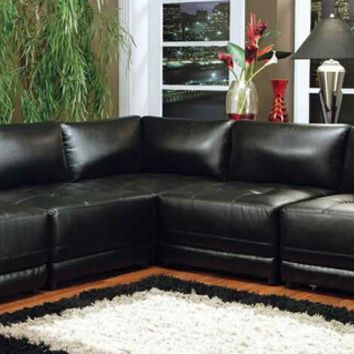 Coaster 500891-92-93 5 pc kayson collection black bonded leather match modular sectional sofa