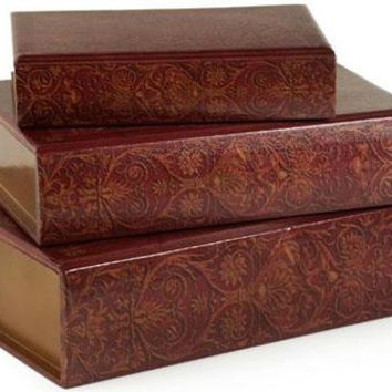 3 Decorative Storage Boxes - Wooden Book Style