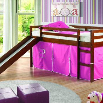 Clara Loft Bed with Slide & Pink Tent