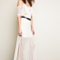 Open Shoulder Lace Maxi Dress