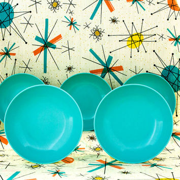 Texas Ware Bowls Turquoise Mid Century Atomic Kitchen Retro Dining 5 Vintage Melamine Salad Bowls