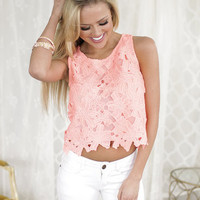 Neon Coral Floral Lace Crop Top