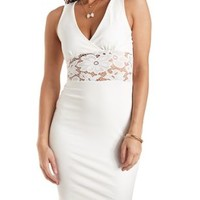 Ivory Lace-Waist Bodycon Dress by Charlotte Russe