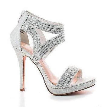 Isabel64 Silver Sparkle By Blossom, Rhinestone Studded Strappy Stiletto Sandal High Heel
