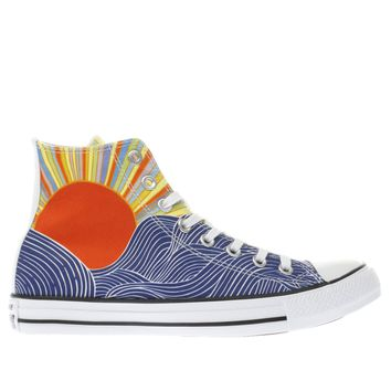 converse blue & yellow all star mara hoffman hi trainers