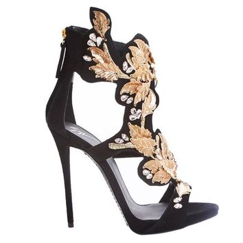 Giuseppe Zanotti NEW SOLD OUT Black Suede Gold Leaf Rhinestone Heels in Box
